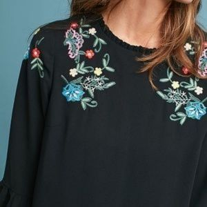 Anthropologie Embroidered Bell-Sleeve Dress sz S